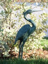 Verdigris cast iron heron, country decor, Chehoma