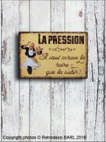 Metal sign Pression, bistro style, Antic Line