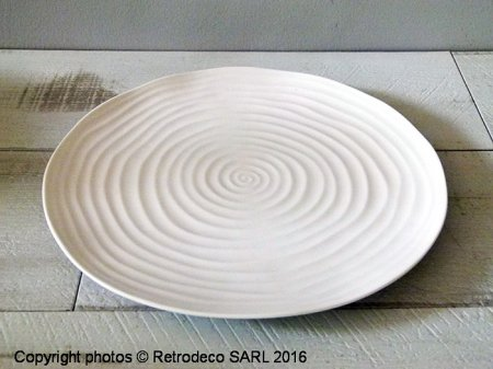 Assiette plate Strates porcelaine blanche, déco cosy, Chehoma