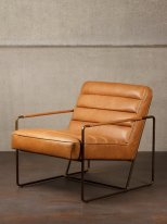 Cognac leather armchair Makine Chehoma