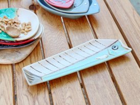 Ceramic long plate Comic green seaside decor, Chehoma