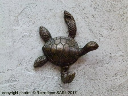 Brass metal hook Tortue, antique style, Chehoma