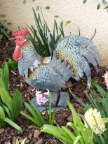 Painted zinc rooster, country style, Chehoma