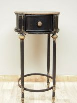 Antique black metal side table with a drawer, antique style