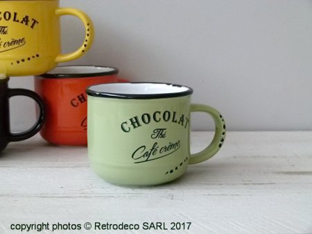 Ceramic chocolate cup Cappuccino green, bistro style, Antic Line