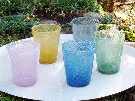 Set of 5 colored glasses hand blown Ib Laursen