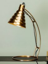 Brass metal desk light embossed lampshade Chehoma