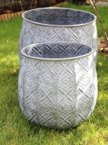 Medium round Fleur zinc, country decor