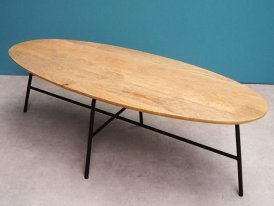 Table basse ovale Alban en manguier Chehoma