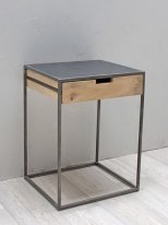 Natural wood and metal nightstand Brooke with 1 drawer Chehoma