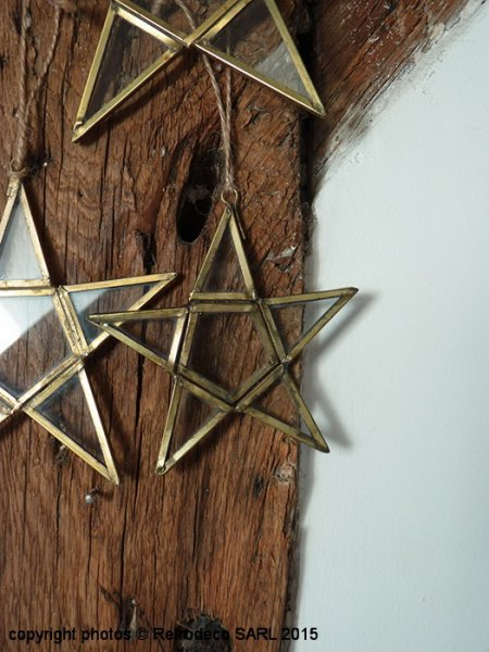 Small hanging glass and brass star, christmas deco, Ib Laursen