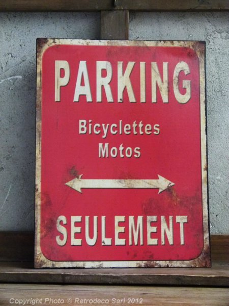 Plaque Parking rouge, déco atelier, Antic Line