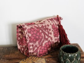 Small printed fabric toilet bag burgundy tassel Madam Stoltz