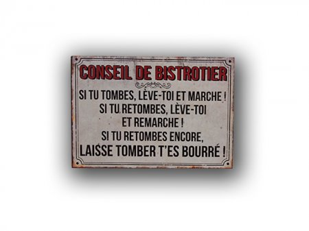 Metal sign Conseil du Bistrotier, bistro decor, Antic Line