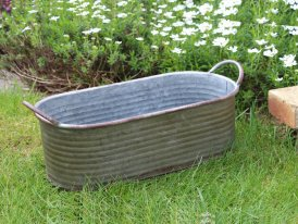 Oval zinc pot Yolanda with handles, country decor, Krentz