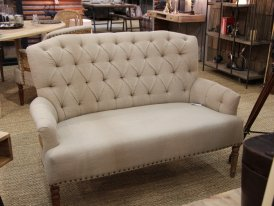 Linen and jute sofa Valbelle two seats, cosy style, Chehoma