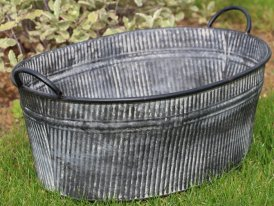 Large zinc oval pot with handles, country decor