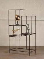 Black metal and glass asymetrical shelf Chehoma