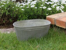 Medium zinc oval pot Para, country decor, Krentz