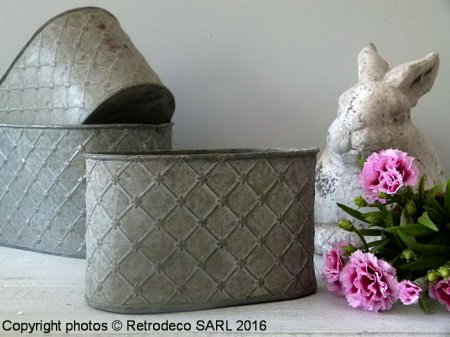 Small zinc trough Antique, countryside deco, Tobs
