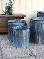 Small round zinc pot Big Bamboo