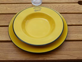 Ceramic yellow plate Brasserie, bistro deco, Antic Line