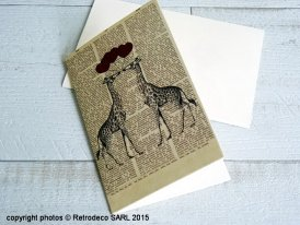 Card with envelope Girafes in love
