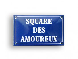 Enamelled metal sign Square des Amoureux, Email Replica