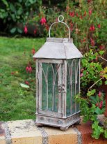 Grey metal and glass lantern, antique style