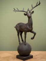 Resin deer on ball, country decor, Chehoma