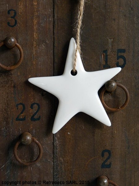 White Porcelain hanging star, Christmas deco, Madam Stoltz