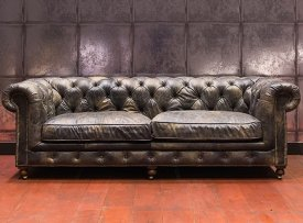 Sofa leather St James 3 seats, Chehoma, antique style
