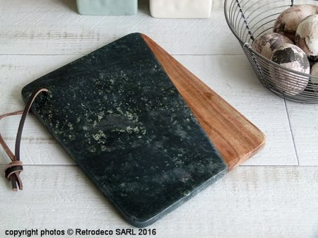Green marble and wood cuttingboard, Madam Stoltz
