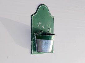 Green metal mural pot Bird, country decor, Chehoma