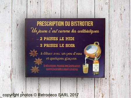 Metal sign Prescription du bistrotier, bistro style, Antic Line