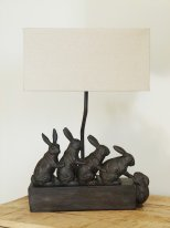 Resin light with lampshade small rabbits, countryside style