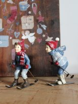 Set of 2 children skiers, christmas decor, Chehoma