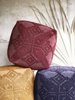 Knitted cotton pouf in hazelnut colour ruby wine Madam Stoltz