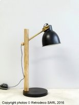 Wooden and black metal lamp, scandinavian style, Madam Stoltz