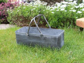 Small zinc pot basket Griffen, country decor, Krentz