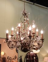 Large brown metal chandelier Rambouillet, antique style