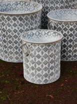 Pot Checkers zinc motif losange PM, deco cosy, Krentz