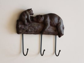Resin bears 3 hooks, mountain decor, Chehoma