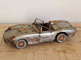 Raw metal sports car miniature, vintage decor, Antic Line