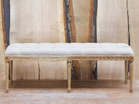 Padded bench natural linen Chehoma, antique decor