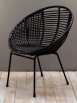 Black rattan armchair Playa Chehoma
