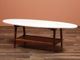 White marble and mango coffee table Tovano Chehoma