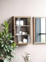 Wooden and glass mural shelf, country decor, Ib Laursen