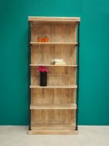 Metal and wooden bookshelf Carnot, factory style, Chehoma