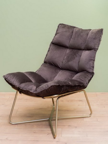 Fauteuil Close velours gris taupe pied metal champagne Chehoma